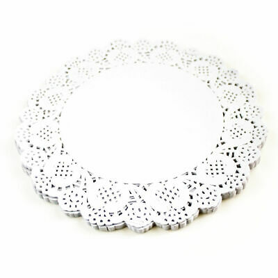 """100x 9.5""""(24cm) Round White Paper Doilies Lace Pattern Coasters Table Mats"""