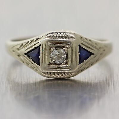 1930's Antique Art Deco 14k White Gold Sapphire & Diamond Ring