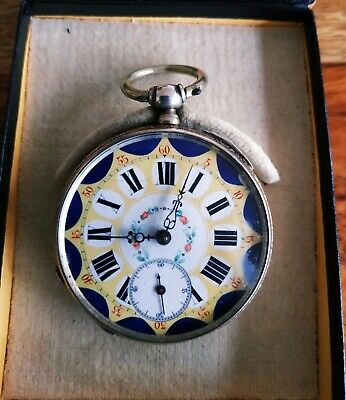 Pocket cylinder silver watch s. XIX- beginning XX. Decorated movement KJ.