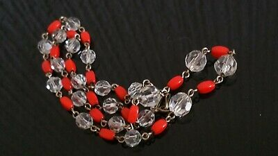 Czech Vintage Art Deco Wired Red And Clear Glass Bead Necklace