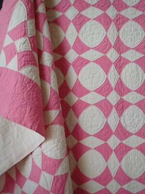 Never Used! Vintage 30s Pink & Cream QUILT Greek Cross 79x69