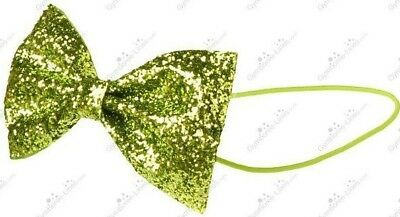 NWT Gymboree Girls Bright Lime Green Elastic Glitter Bow Headband Color Happy