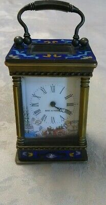 Vintage Antique Miniature French Carriage Clock. Beautiful Hand Painted Dial.