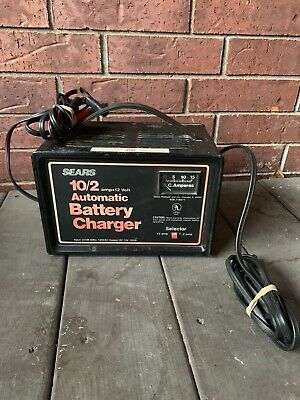 Vintage Sears Battery Charger 10 & 2 Amp for 6 & 12 Volt. USA Made, 1985. Works!