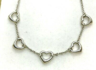 Stunning Elsa Peretti for TIFFANY & Co. Sterling Silver 5 Open Hearts Necklace