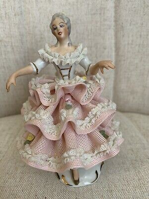 """Antique DRESDEN GERMANY LADY DANCING Pink Lace Porcelain Figurine 5.5"""" High."""