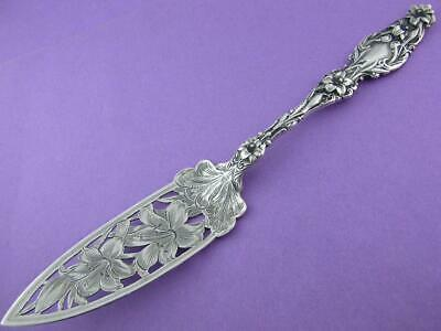 Rare Sterling WHITING pierced Jelly Knife Server LILY 1902 w/ pat date ~no mono