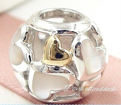 Authentic Pandora Sterling Silver & 14kt Gold Luminous Hearts Charm W/ Pouch