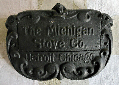 Antique The Michigan Stove Company cast iron maker's plate/ plaque; coal/ wood