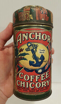 AMAZING CONDITION Antique old Vintage Anchor Coffee & Chicory Tin G.Wood & Son