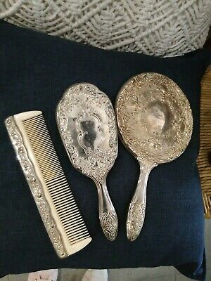 Vintage Silver Mirror Brush and Comb Set