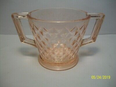 """Vintage Pink Depression Glass - Small 2 Handled Cup ( 2 3/4"""" tall )"""