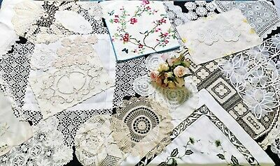 44 Vintage Items Craft Use - Tablecloths, Runners, Centrepieces , Doilies Etc.