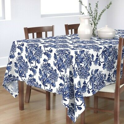 Tablecloth Floral Blue Peonies Spring Kitchen Flowers Modern Cotton Sateen