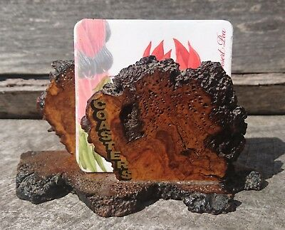 Wooden coaster rack / holder with 6 Australian native flower coasters
