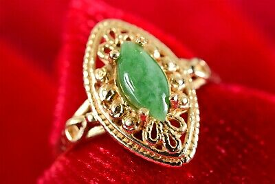 Vintage 14K Yellow Gold Open Filigree Green Chinese Marquise Jade Ring Sz 7