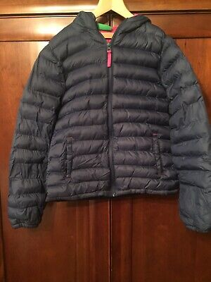 Girls Navy & Pink Mountain Warehouse Cosy Winter Puffer Quilted Jacket Age 11 12