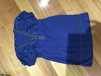 Iska ladies dress size L hundred percent rayon silk trim with front bead feature