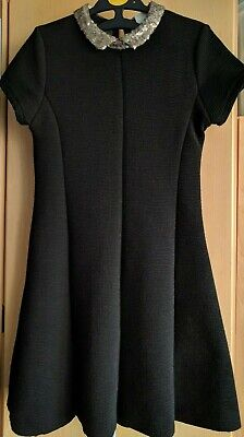 Zara Girls Black Knit And Gold Sequins Collar Short Sleeve Dress Age 11-12 Years