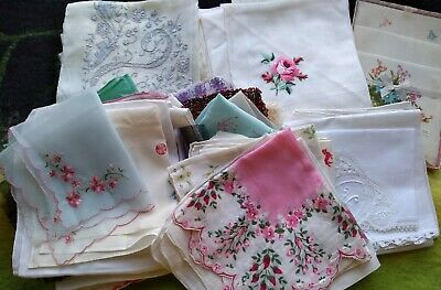 Job Lot Vintage Handkerchiefs x over 75, Floral, White, Embroidered 1940/1960s