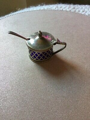 Vintage Silver Plated Lidded  Salt Pot with Spoon