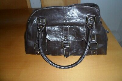 "Ladies Large Handbag Dark Brown Faux Leather  Primark 15"" X 10"" X 5"""