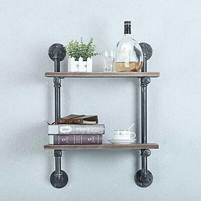 weven 2-Tiers Wall Decor Farmhouse Book Shelf,Rustic Pipe Shelves for Kitchen