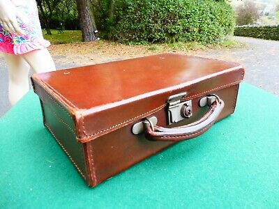 Vintage small real cowhide leather suitcase 1940/1950's era, lovely!