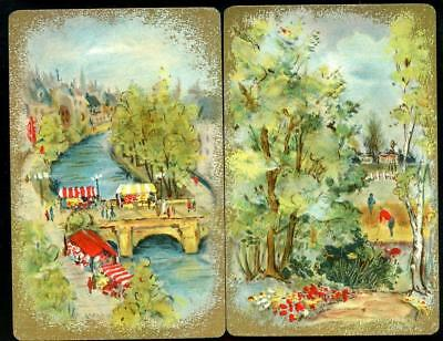 French River Scene Vintage Swap Cards In Mint Condition