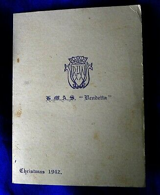 Paper Ephemera Ww2 Royal Australian Navy Ship Christmas Card; Hmas Vendetta 1942