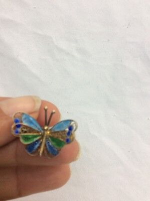 Beautiful Vtg 800 Silver Gilt Filigree Enamel Butterfly pin brooch