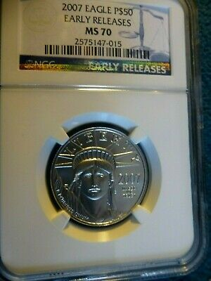 2007 Eagle 1/2 Ounce Certified Platinum Ms 70 Early Release