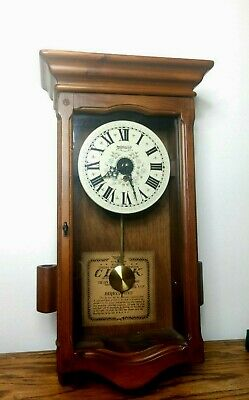 WORKING! New England Clock Co. 8-Day Manual Pendulum Wall Clock Vintage Ogee