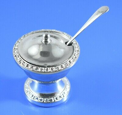 Vintage Ianthe Silver Plate Condiment Mustard Pot And Spoon