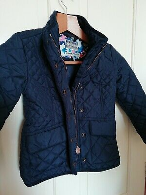 Joules Navy Quilted Girl's Jacket with Corduroy trim Age 5 Years Old