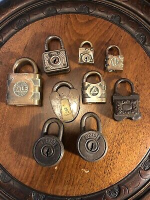 Job Lot Of 9 Antique & Vintage Padlocks NO KEYS Some Victorian - Decorative