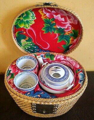 Vintage Red Floral BLUE Chinese Asian Oriental Tea Pot Two Cups In Wicker Basket