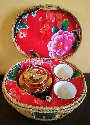 Vintage Red Floral GOLD Chinese Asian Oriental Tea Pot Two Cups In Wicker Basket