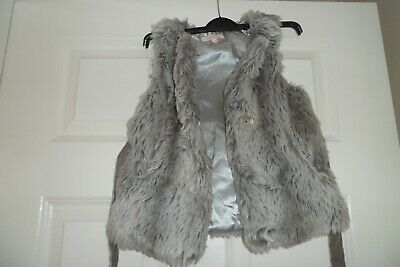 Girls Grey Faux Fur Belted  Gilet  Age 3-4 Butterfly By Matthew Williamson