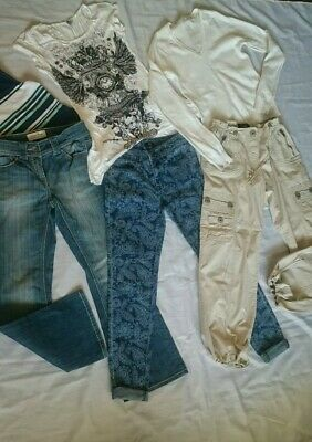 Womens Bundle Mix x3 Tops + x3 Jeans Size 8 ZARA/NEXT/AX PARIS/H+M/F+F/E-VIE