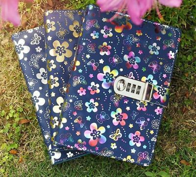 A5 Leather Flower Journal Diary Notebook Password Combination Lock for Girls