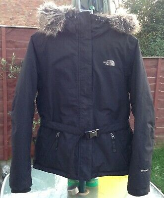 Womens The North Face Jacket Size Medium Hyvent Goose Down Puffer Warm Fur Hood