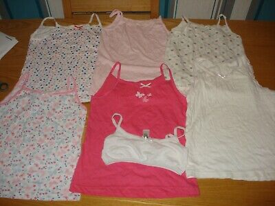 6X Girl's Vests Age 7-8 Used Vgc Job Lot Primark