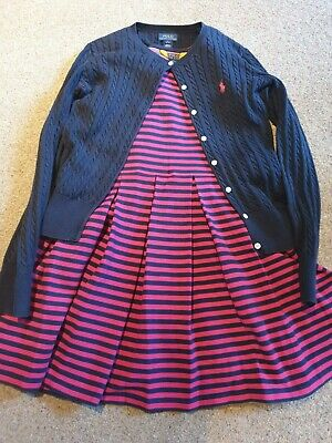 Polo Ralph Lauren Girls Stripe Dress & Navy Blue Cardigan,  Size L App Age 11