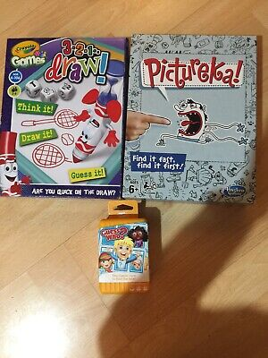 3 x Travel Family/Kids Board Games Bundle Guess Who Card Game, Pictureka & Crayo