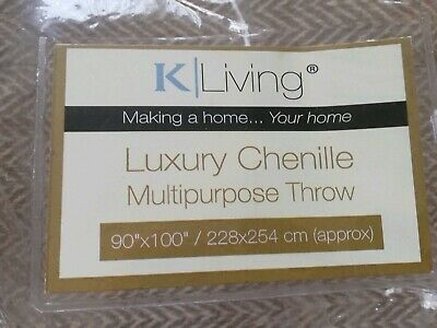 K-LIVING FRINGED Chenille BED/CHAIR/SOFA THROW 90x100 cream colour NEW