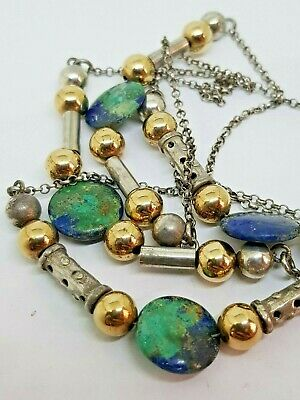 Israel Vintage 1950s Sterling Silver 925 Necklace Eilat Stone