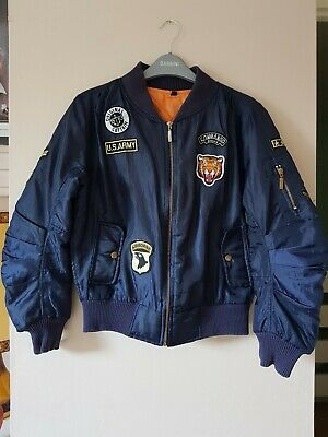 Girls Navy Blue Bomber Shell Jacket/Coat Airforce Army Style Age 13 Years