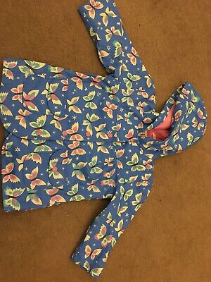 Hatley Girls Rain Coat Age 2 Blue Butterflies, Very Good Used Condition