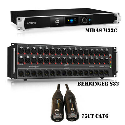 Midas M32C 40-ins 25-bus Digital With Behringer Snake S32 And Cat6 Cable